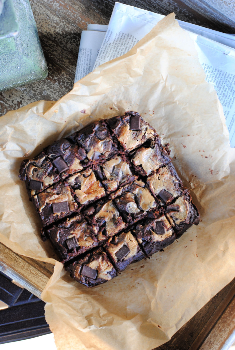 healthy pumpkin gluten free brownies with a swirl