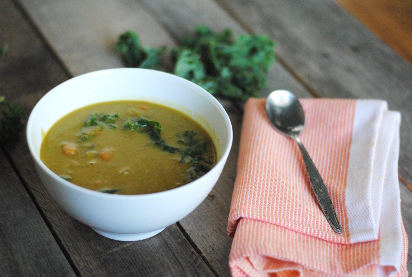 Instant Pot Vegetarian Split Pea Soup with Kale