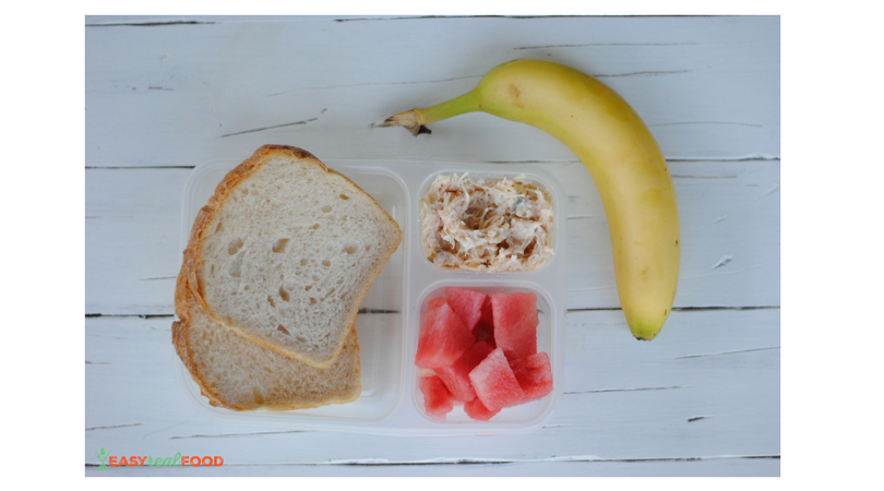 Chicken Salad on whole wheat bread + diced melon and banana