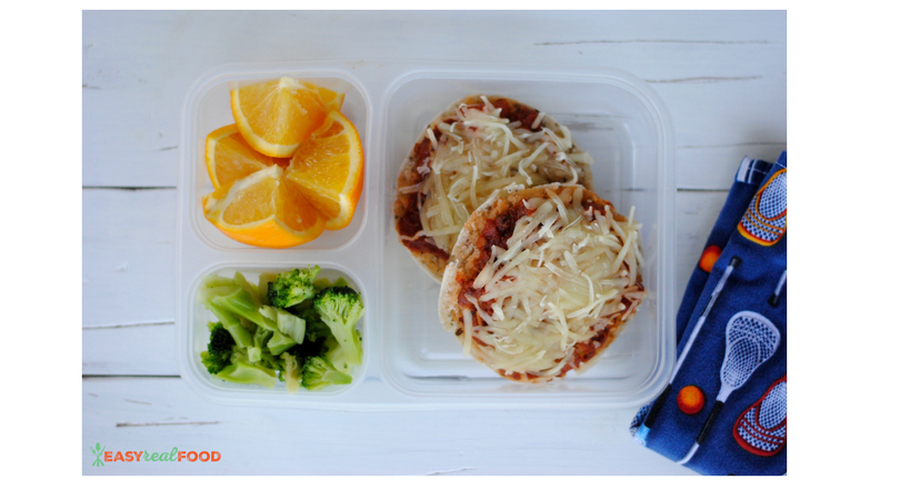 Packed Lunch #2: Pizza English Muffins, Broccoli and an Orange