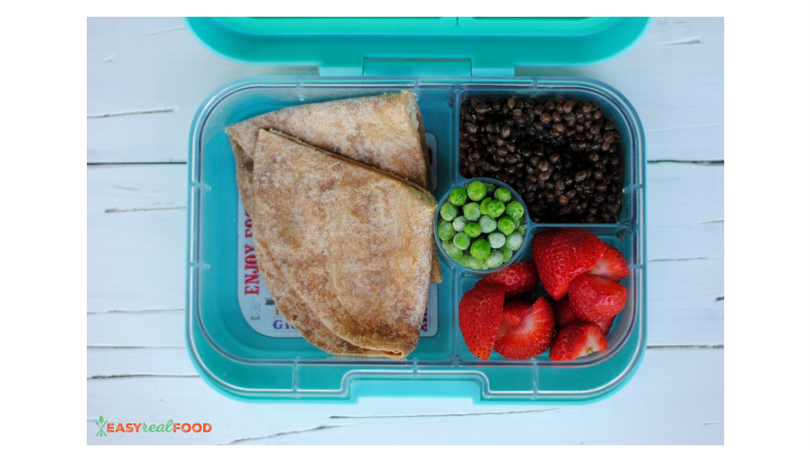 Cheese quesadilla, lentils, strawberries and peas