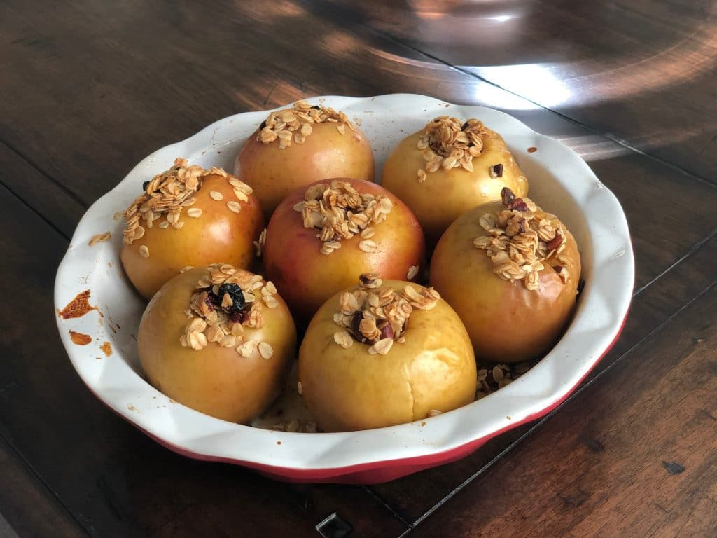 A recipe for baked apples stuffed with a gluten free filling. A delicious fall food.