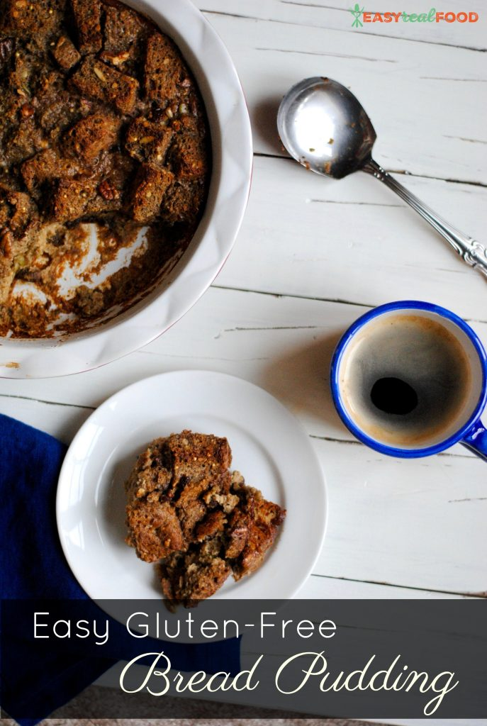 Gluten free bread pudding with a cup of coffee