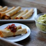 The best baked gluten free taquitos, served with salsa