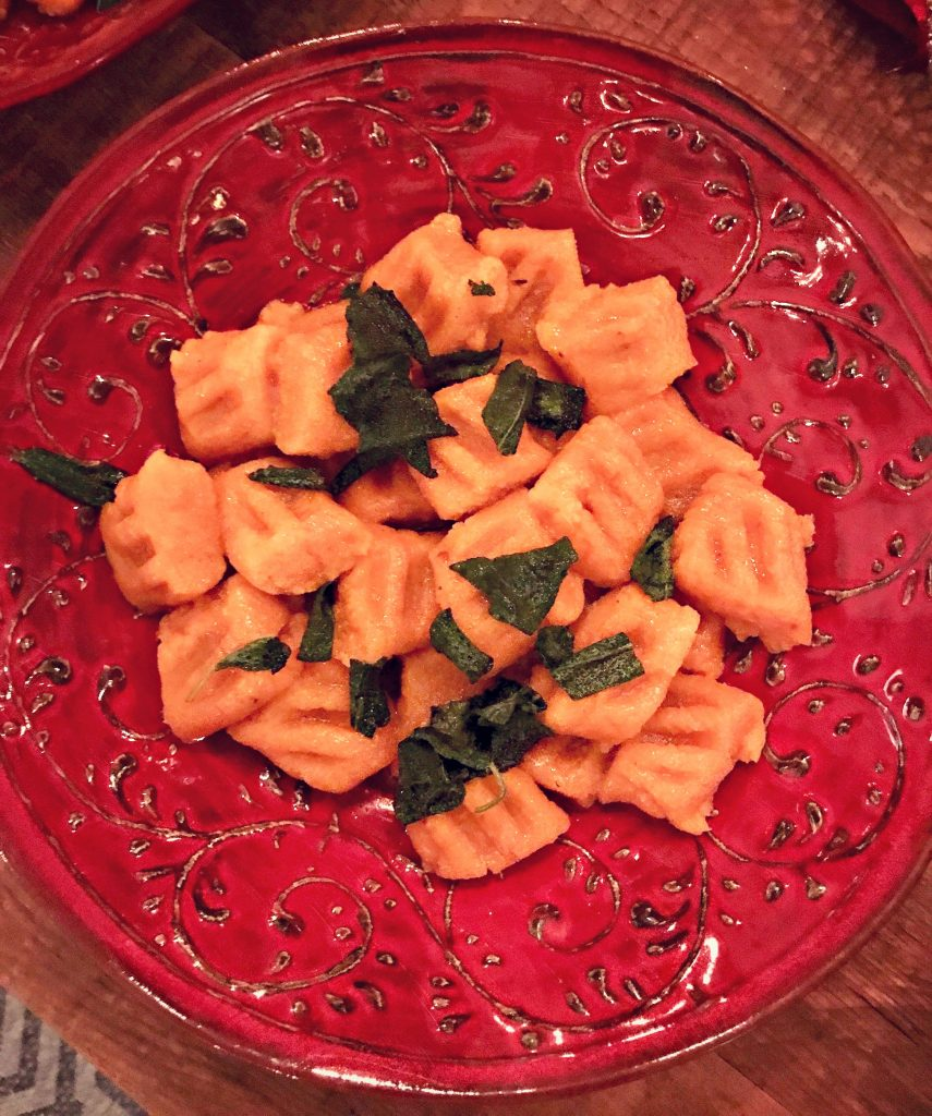 Gluten free sweet potato gnocchi with sage brown butter sauce
