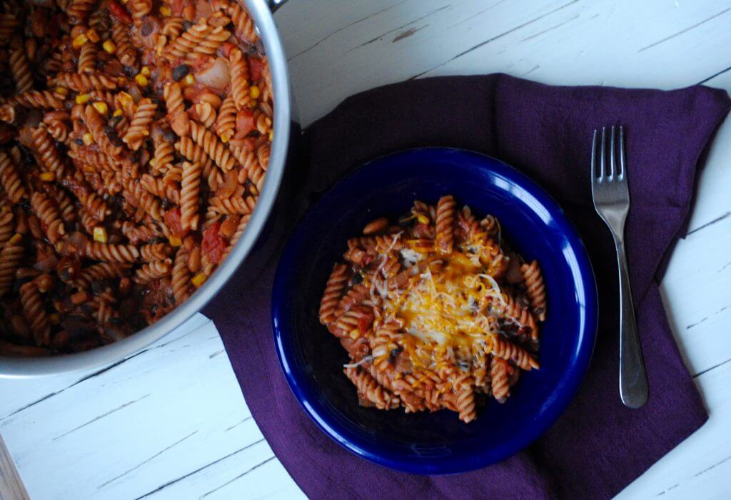 Make this taco pasta in one pot. Simple and delicious!