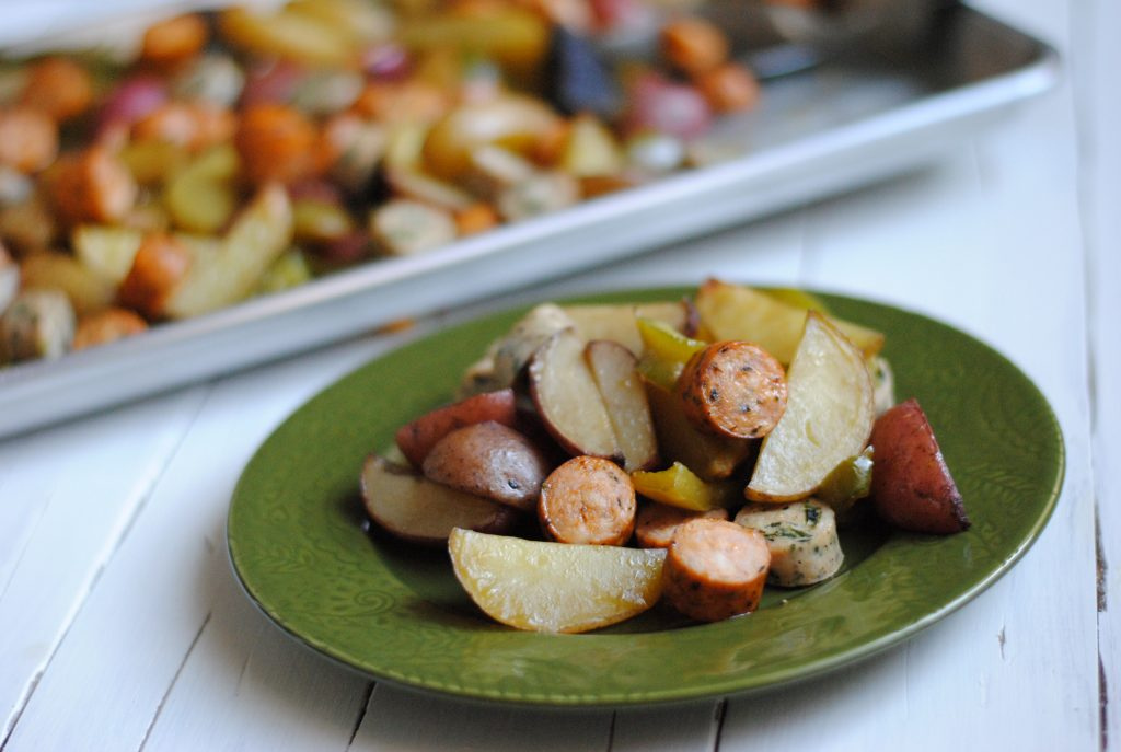 Sheet Pan Sausage, Potato and Peppers