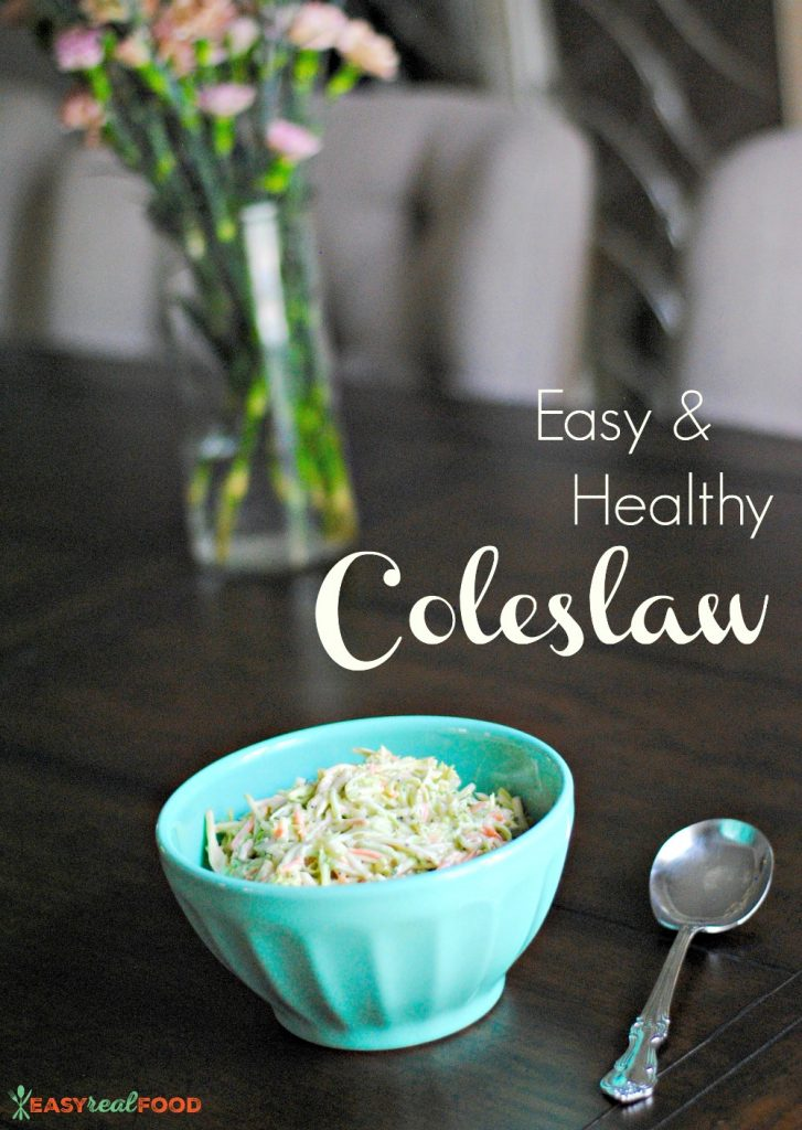 Easy healthy coleslaw. Dairy-free and super easy!
