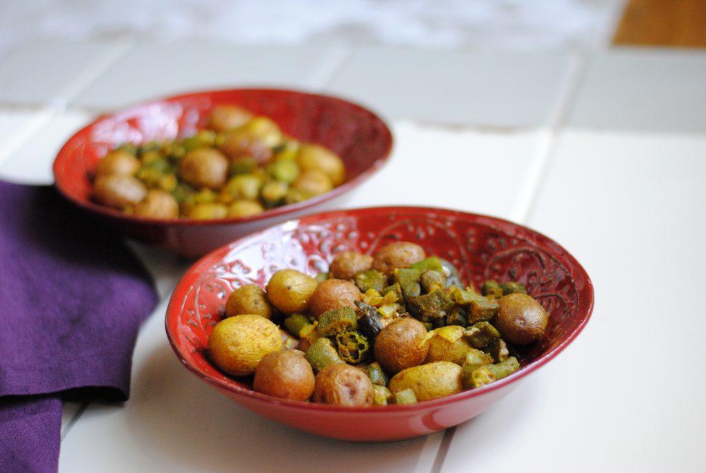 Indian-style okra & potatoes