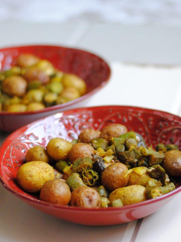 Sheet Pan Indian Okra and Potatoes