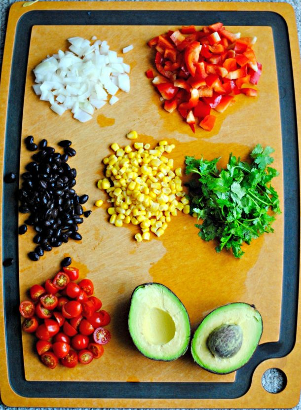 Ingredients for a black bean corn avocado salad
