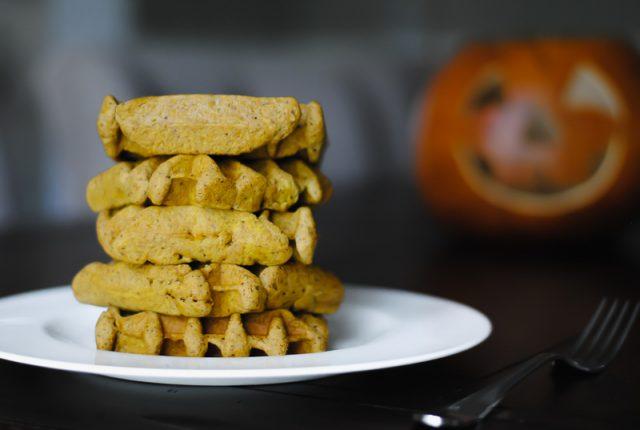 Fluffy grain free pumpkin waffles