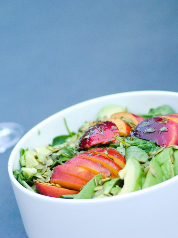 peach avocado salad with homemade dressing