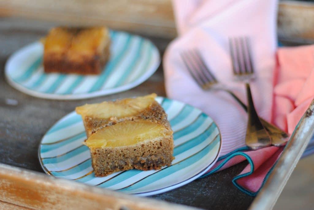 Gluten Free Pineapple Upside Down Cake Easyrealfood.com #glutenfree #healthydessert #simplemills