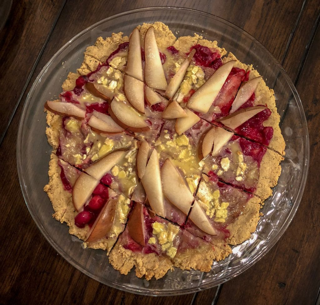 gluten free cranberry, pear and brie pizza