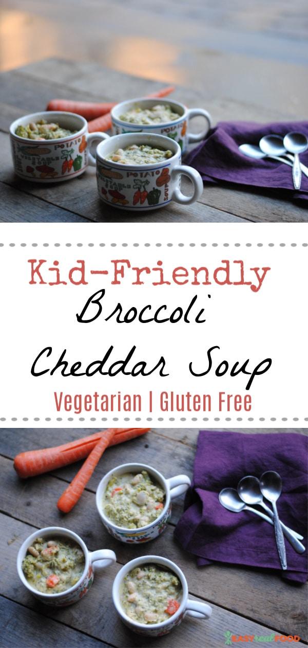 Kid friendly broccoli cheddar soup #soup #easysouprecipe #broccolisoup #glutenfree