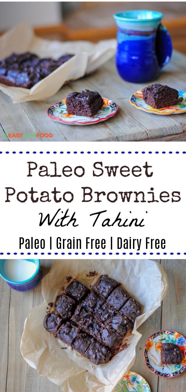 Super fudgy grain-free and paleo sweet potato brownies with tahini