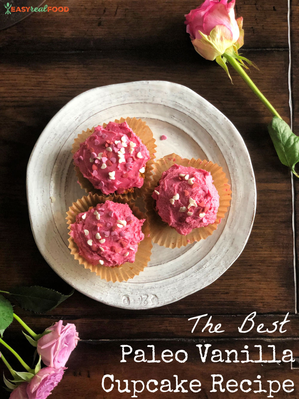 Paleo coconut flour vanilla cupcakes - grain free and vegan, these are moist and delicious cupcakes. Yum! #grainfree #vegantreat #glutenfreecupcake