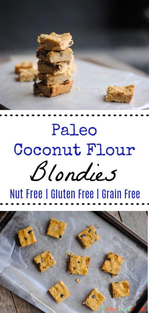 paleo coconut flour blondies are nut-free, gluten-free and grain-free