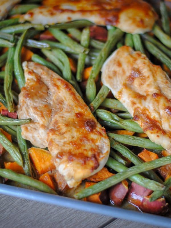 A healthy chicken sheet pan recipe that's paleo and dairy free.