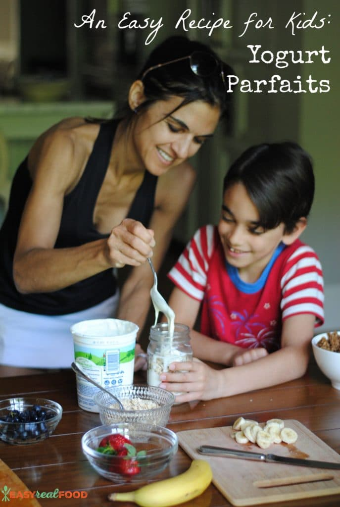 An easy recipe for even preschoolers to make: yogurt parfaits. #kidscook