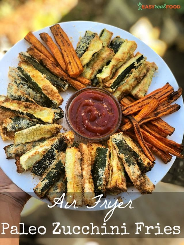 Paleo Air Fryer Zucchini Fries - #dairyfree #glutenfree #kidsveggies