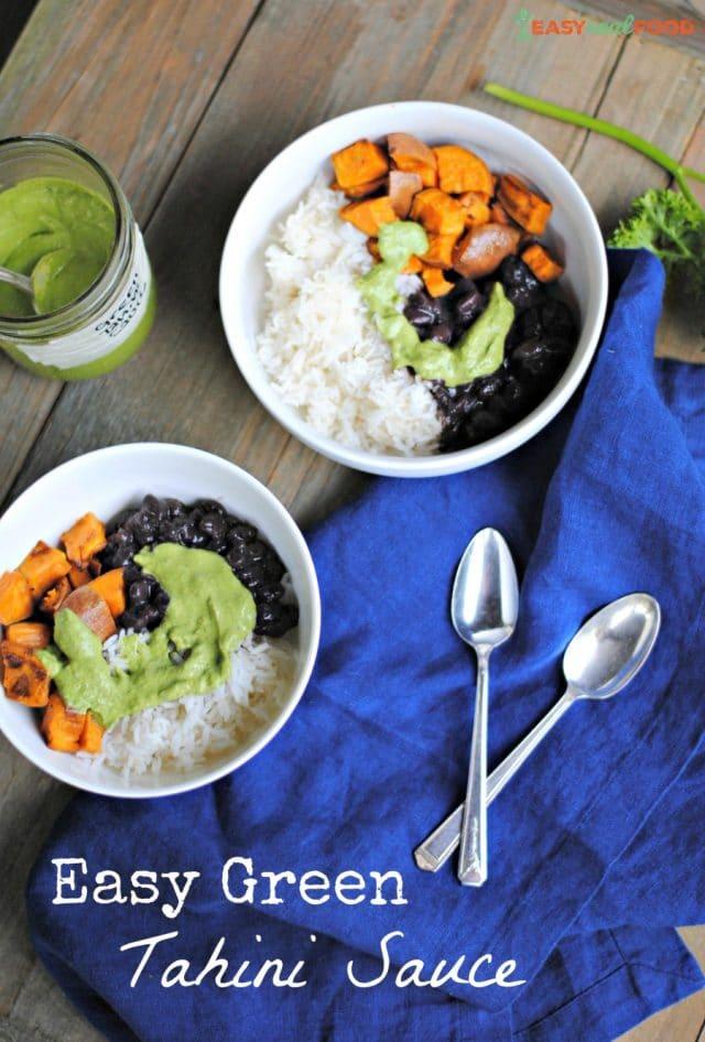 Easy green tahini sauce on a grain bowl of rice, sweet potatoes and black beans