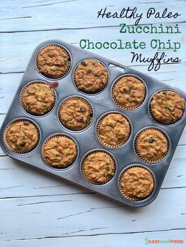 Healthy Paleo Zucchini Chocolate Chip Muffins - #paleodessert
