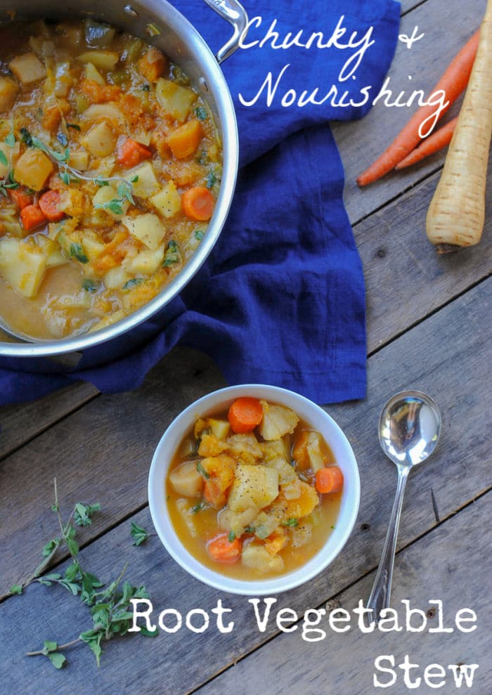 chunky root vegetable stew - autumn inspired and full of root vegetables. #easyrealfood
