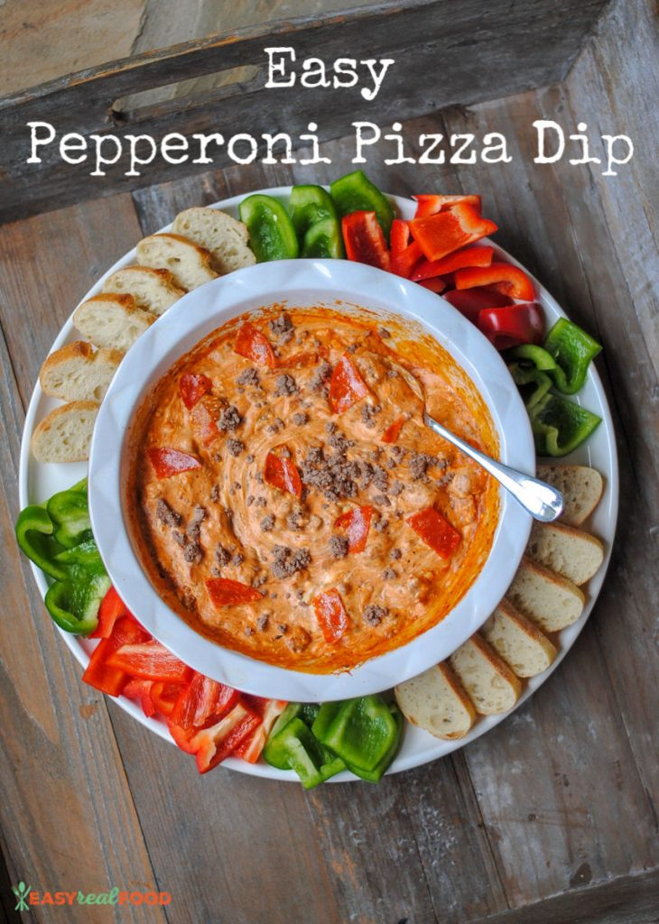 easy pizza dip - football food; perfect for Super Bowl. Low carb and keto-friendly.