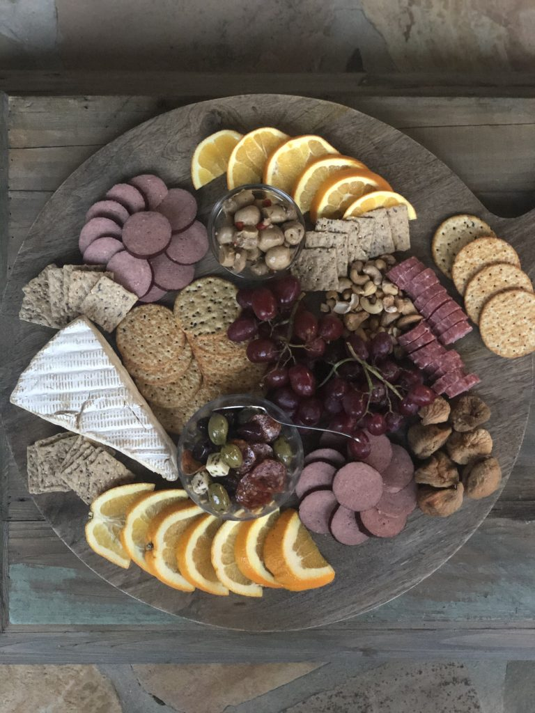 A charcuterie board can make a tasty hotel room meal!