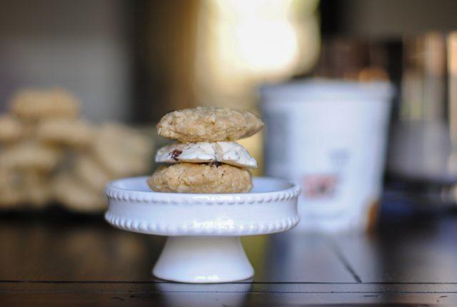 vegan chocolate chip cookie dough ice cream sandwich