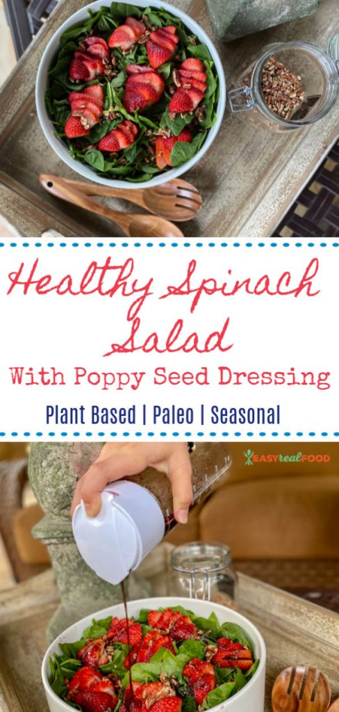 Healthy Paleo Strawberry Spinach Salad with Poppy Seed Dressing - #paleosalad #strawberrysalad