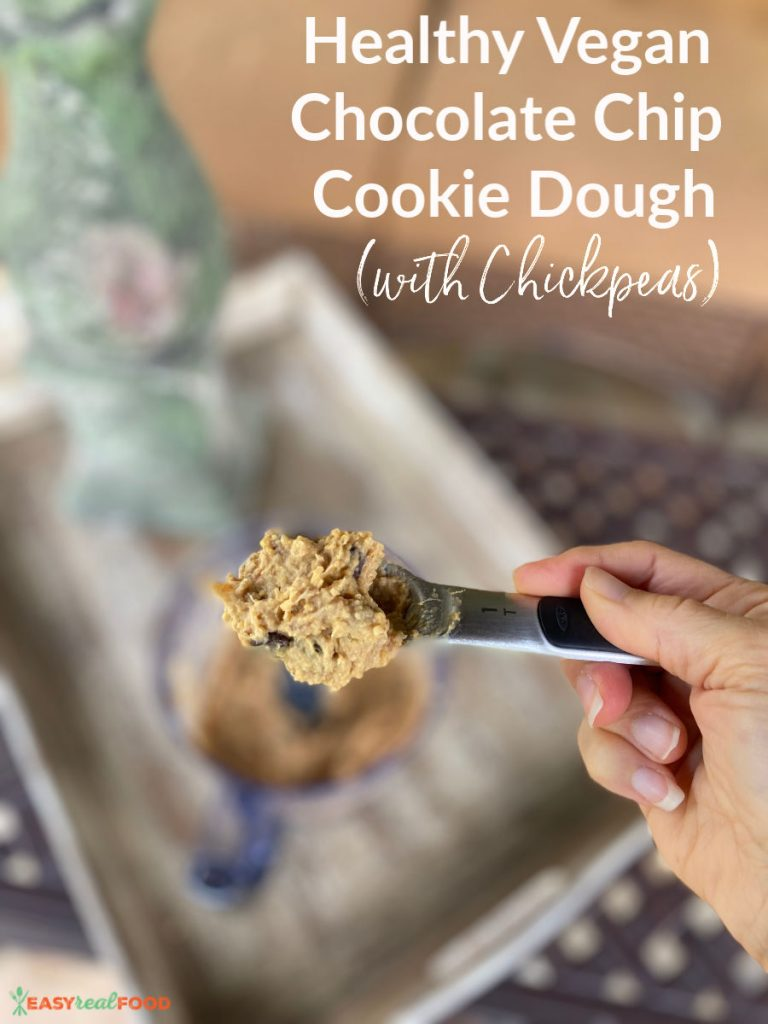 Healthy Vegan Chocolate Chip Cookie Dough (with Garbanzo Beans)