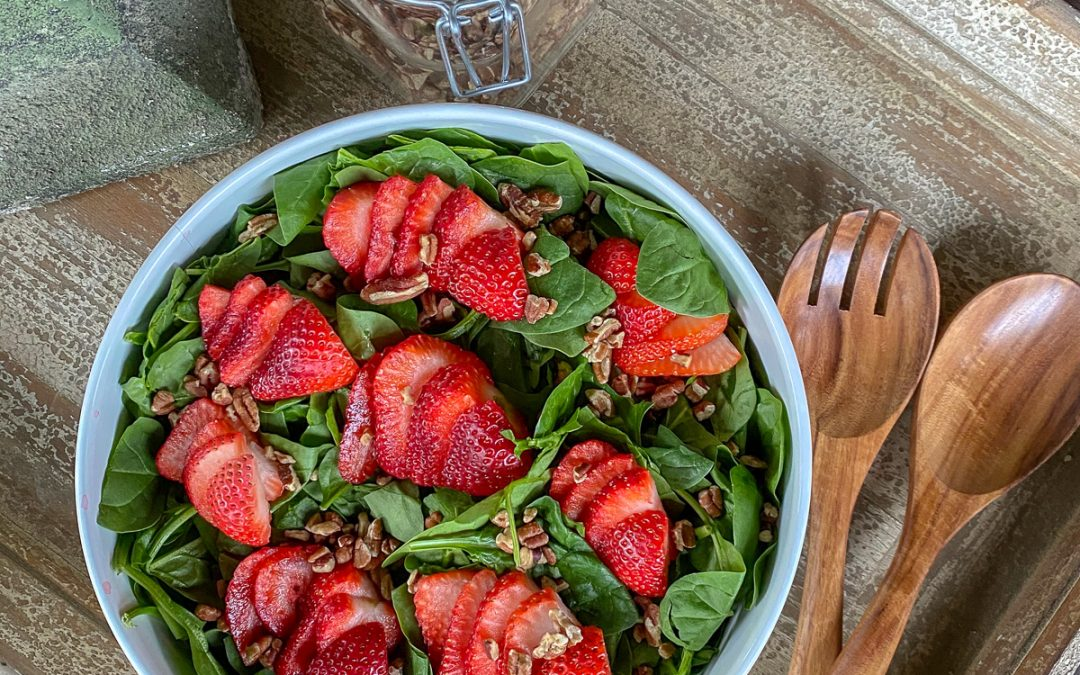 Healthy Strawberry Spinach Salad with Poppy Seed Dressing