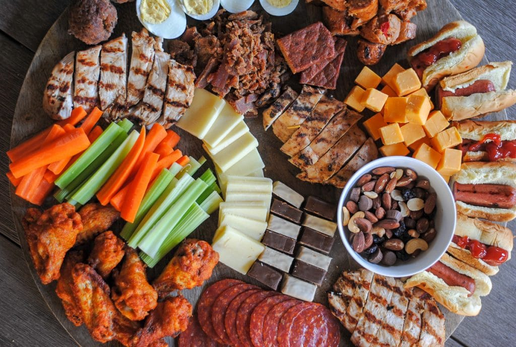 meat, cheese, protein bars, turkey jerky and more make up this delicious platter