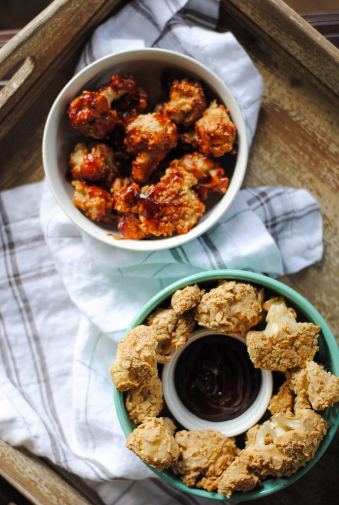 BBQ covered baked breaded cauliflower
