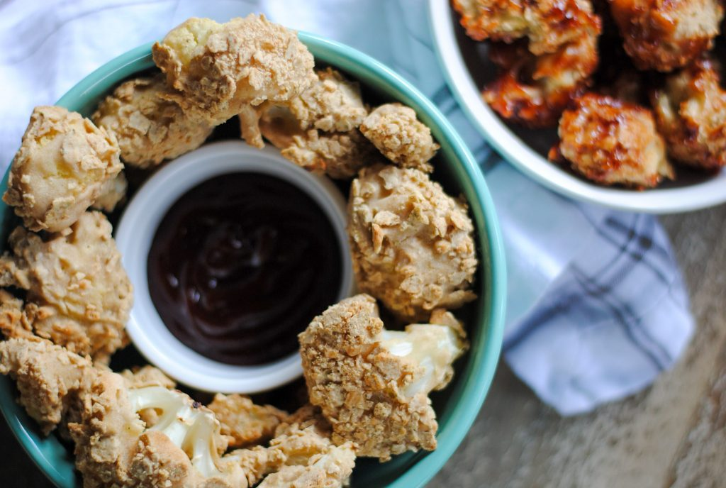 breaded cauliflower with no eggs, nuts or grains in a bowl