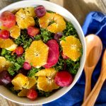 Roasted beet & orange kale salad