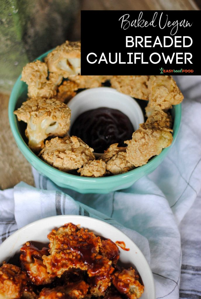 baked vegan breaded cauliflower two ways in two bowls
