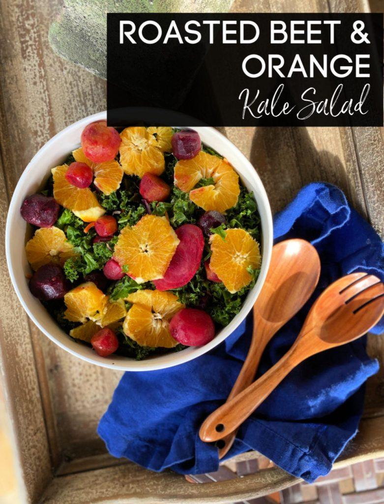 roasted beet & orange kale salad - plant based and vegan