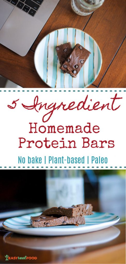 5 ingredient homemade protein bars - #nobake #paleo #plantbased