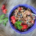 Berry quinoa salad in a bowl