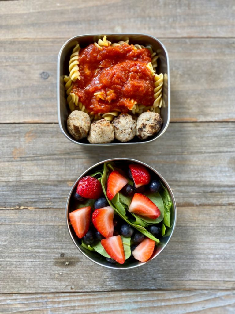 Gluten Free Pasta with Sauce, Paleo Meatballs, Spinach salad