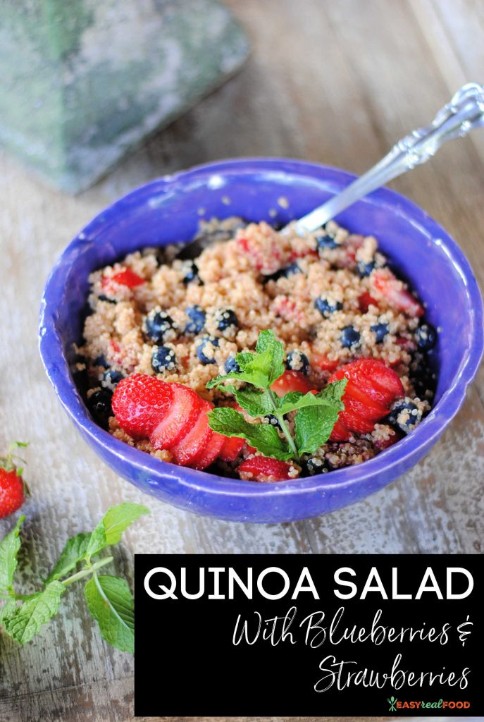 Quinoa salad with blueberries, strawberries and raspberries - Grain free and seasonal
