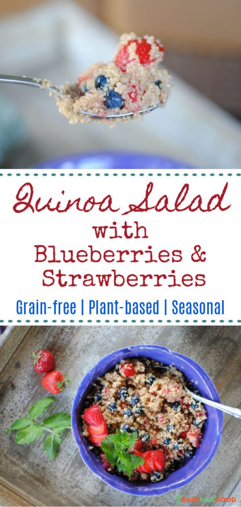 quinoa salad with blueberries and strawberries image for pinterest
