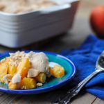 grain free peach cobbler close up