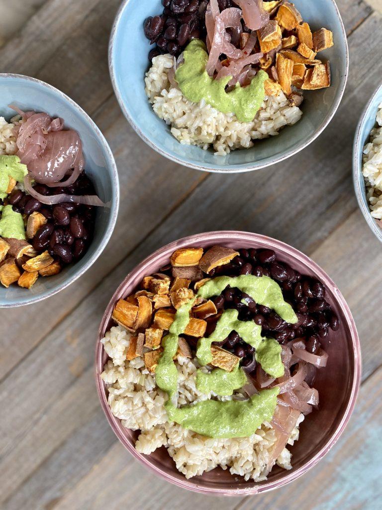 grains, sweet potato, black bean and green tahini sauce