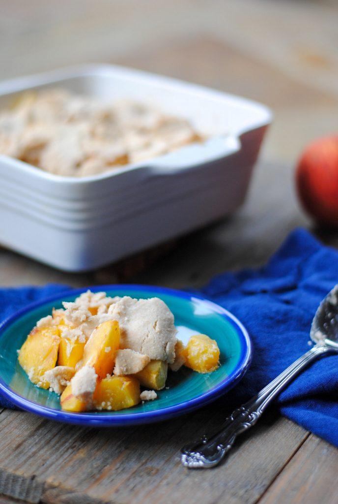 peach cobbler on a plate - no refined sugar
