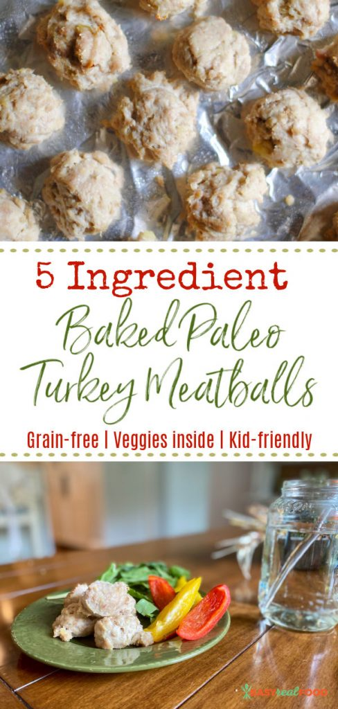 5 ingredient baked paleo turkey meatballs with sweet potato - pinterest image